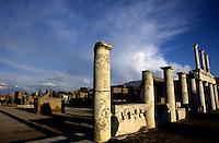 Columnar ruins of a forum in Pompeii, Italy.