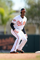 Baltimore Orioles designated hitter Henry Urrutia (51) during a spring training game against the Philadelphia Phillies on March 7, 2014 at Ed Smith Stadium in Sarasota, Florida.  Baltimore defeated Philadelphia 15-4.  (Mike Janes/Four Seam Images)