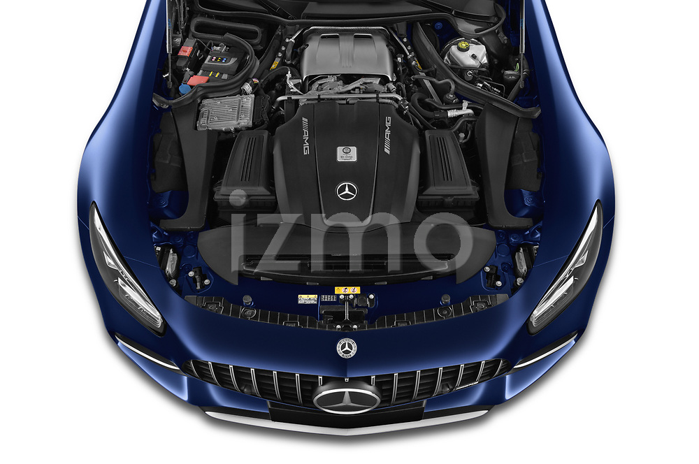 Car Stock 2020 Mercedes Benz AMG-GT C 3 Door Coupe Engine  high angle detail view