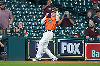Ben Haefner (6) of the Sam Houston State Bearkats catches a ball against the Mississippi State Bulldogs during game eight of the 2018 Shriners Hospitals for Children College Classic at Minute Maid Park on March 3, 2018 in Houston, Texas. The Bulldogs defeated the Bearkats 4-1.  (Brian Westerholt/Four Seam Images)