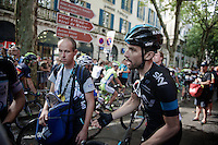 Bernie Eisel (AUT/SKY) argues with Michal Kwiatkowski (POL/Omega Pharma-Quickstep, out of frame) over the 'dangerous/disruptive tactics' the OPQS team used in the last few kilometers<br /> <br /> 2014 Tour de France<br /> stage 15: Tallard - Nîmes (222km)