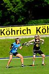 BERLIN, GERMANY - JUNE 21: Match of Team Germany (black) vs Team Switzerland (light blue) during the Berlin Open Lacrosse Tournament 2013 at Stadion Lichterfelde on June 21, 2013 in Berlin, Germany. Final score 20-0. (Photo by Dirk Markgraf/www.265-images.com) *** Local caption *** <br /> #41 Tessa Helf of Germany