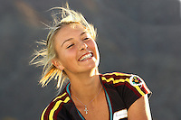 Tennis superstar Maria Sharapova of Russia smiles while possing for the press after winning the 2006  Pacific Life Open at Indian Wells Garden, Indian Wells CA