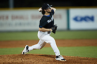 Bluefield Ridge Runners relief pitcher Austin Stambaugh (14) (Bluefield State) in action against the Burlington Sock Puppets at Burlington Athletic Park on June 8, 2021 in Burlington, North Carolina. (Brian Westerholt/Four Seam Images)
