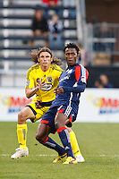 25 OCTOBER 2009:  Frankie Hejduk of the Columbus Crew(2) and Michael Videira of the New England Revolution (19) during the New England Revolution at Columbus Crew MLS game in Columbus, Ohio on October 25, 2009.