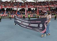 CALI - COLOMBIA, 16-10-2021: América de Cali y Deportivo Cali en partido por la fecha 14 como parte de la Liga BetPlay DIMAYOR II 2021 jugado en el estadio Pascual Guerrero de la ciudad de Cali. / America de Cali and Deportivo Cali in match for the date 14 as part of BetPlay DIMAYOR League II 2021 played at Pascual Guerrero stadium in Cali. Photo: VizzorImage / Gabriel Aponte / Staff