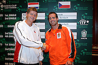 21-9-06,Leiden, Tennis, training Daviscup, Sluiter and Novak(l)