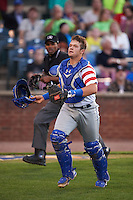 Lexington Legends catcher Chase Vallot (15) makes a play on a foul ball pop up during a game against the Hagerstown Suns on May 22, 2015 at Whitaker Bank Ballpark in Lexington, Kentucky.  Lexington defeated Hagerstown 5-1.  (Mike Janes/Four Seam Images)