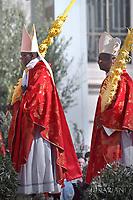 Cardinal Robert Sarah, cardinal Peter Kodwo Appiah Turkson..Pope Francis during of the Palm Sunday celebration on St Peter's square at the Vatican.April 24,2018