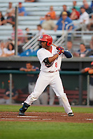Auburn Doubledays center fielder Armond Upshaw (8) at bat during a game against the Connecticut Tigers on August 9, 2017 at Falcon Park in Auburn, New York.  Connecticut defeated Auburn 6-4.  (Mike Janes/Four Seam Images)