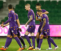 23rd May 2021; HBF Park, Perth, Western Australia, Australia; A League Football, Perth Glory versus Macarthur; Diego Castro of Perth Glory celebrates with team mates after scoring from a penaly kick in the 13th minute to make the score 1-0