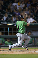 Sean Kazmar Jr. (4) of the Gwinnett Braves follows through on his swing against the Charlotte Knights at BB&T BallPark on July 12, 2019 in Charlotte, North Carolina. The Stripers defeated the Knights 9-3. (Brian Westerholt/Four Seam Images)