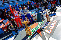 The winners in Victory Lane (L to R):  Juan Pablo Montoya, Dario Franchitti, Memo Rojas and Scott Pruett.