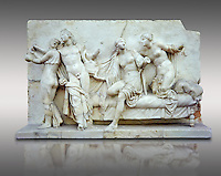 Roman marble relief sculpture known as  Alcibiades and Etere, Franeses Collection, Roman copy of an earlier Greek Helenistic original , inv no 6688, Secret Museum or Secret Cabinet, Naples National Archaeological Museum, grey backround