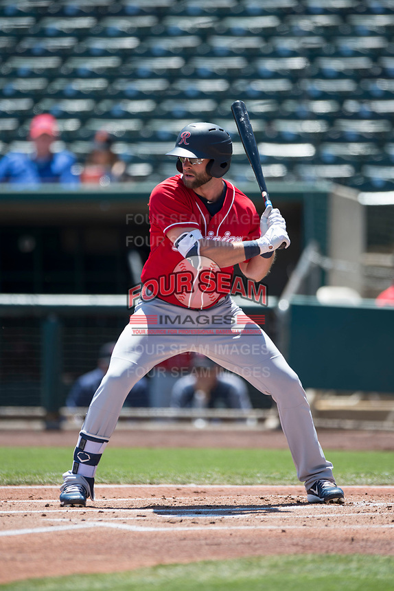 Tacoma Rainiers designated hitter Kirk Nieuwenhuis (6) at bat during a Pacific Coast League against the Sacramento RiverCats at Raley Field on May 15, 2018 in Sacramento, California. Tacoma defeated Sacramento 8-5. (Zachary Lucy/Four Seam Images)