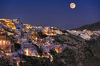 Oia by night in Santorini island, Greece