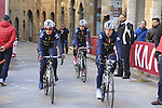 Bepink Laclassica team make their way to sign on before start the 2015 Strade Bianche Women Elite cycle race 103km over the white gravel roads from San Gimignano to Siena, Tuscany, Italy. 8th March 2015<br /> Photo: Eoin Clarke www.newsfile.ie