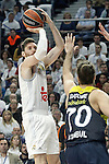 Real Madrid's Rudy Fernandez (l) and Fenerbahce Istambul's Luigi Datome during Euroleague Quarter-Finals 3rd match. April 19,2016. (ALTERPHOTOS/Acero)