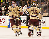 Kevin Hayes (BC - 12), Parker Milner (BC - 35) - The Boston College Eagles defeated the Northeastern University Huskies 6-3 for their fourth consecutive Beanpot championship on Monday, February 11, 2013, at TD Garden in Boston, Massachusetts.