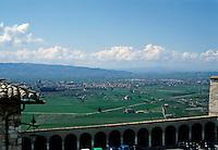 Italy: Assisi--Umbrian countryside from Santa Chiara. Photo '85.