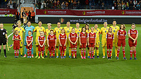20171020 - LEUVEN , BELGIUM : Romanian line up pictured before the female soccer game between the Belgian Red Flames and Romania , the second game in the qualificaton for the World Championship qualification round in group 6 for France 2019, Friday 20 th October 2017 at OHL Stadion Den Dreef in Leuven , Belgium. PHOTO SPORTPIX.BE | DAVID CATRY