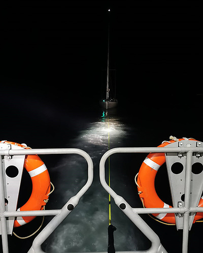 The yacht was towed to Greystones harbour using the RNLI's new towing equipment