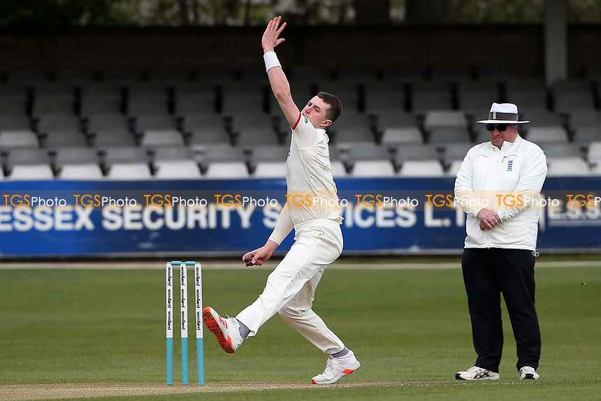 Jack Blatherwick in bowling action for Lancashire during Essex CCC vs Lancashire CCC, Friendly Match Cricket at The Cloudfm County Ground on 25th March 2021