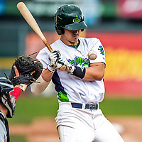 25 July 2017: Vermont Lake Monsters first baseman Aaron Arruda, a 12th round draft pick for the Oakland Athletics, is brushed back by a Diogenes Almengo pitch in the 8th inning of a game against the Tri-City ValleyCats at Centennial Field in Burlington, Vermont. The Lake Monsters defeated the ValleyCats 11-3 in NY Penn League action. Mandatory Credit: Ed Wolfstein Photo *** RAW (NEF) Image File Available ***