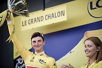 podium with Giulio Ciccone (ITA/Trek-Segafredo)  yellow jersey / GC leader<br /> <br /> Stage 7: Belfort to Chalon-sur-Saône (230km)<br /> 106th Tour de France 2019 (2.UWT)<br /> <br /> ©kramon