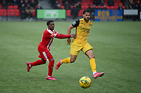 Michael Ademiluyi of Bowers and Maxwell Statham of Hornchurch during Bowers & Pitsea vs Hornchurch, Emirates FA Cup Football at The Len Salmon Stadium on 2nd October 2021