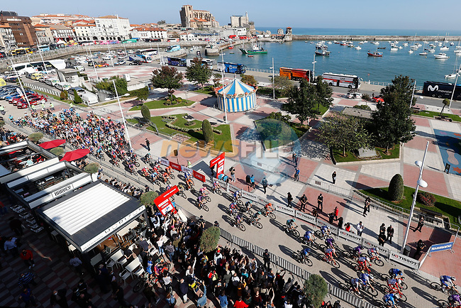 The start of Stage 10 of the Vuelta Espana 2020 running 187.4km from Castro Urdiales to Suances, Spain. 30th October 2020.    <br /> Picture: Luis Angel Gomez/PhotoSportGomez | Cyclefile<br /> <br /> All photos usage must carry mandatory copyright credit (© Cyclefile | Luis Angel Gomez/PhotoSportGomez)