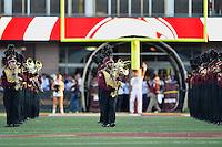 Members of Bobcats band before NCAA football game kickoff against Louisiana Lafayette, Tuesday, October 14, 2014 in San Marcos, Tex. (Mo Khursheed/TFV Media via AP Images)