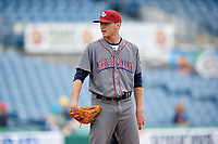 Lehigh Valley IronPigs relief pitcher Brandon Leibrandt (37) looks in for the sign during a game against the Syracuse Chiefs on May 20, 2018 at NBT Bank Stadium in Syracuse, New York.  Lehigh Valley defeated Syracuse 5-2.  (Mike Janes/Four Seam Images)