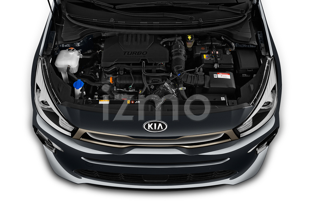 Car Stock 2021 KIA Rio GT-Line 5 Door Hatchback Engine  high angle detail view