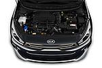 Car Stock 2021 KIA Rio GT-Line 5 Door Hatchback Engine  high angle detail view