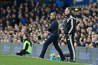 Everton Manager Roberto Martinez and  Swansea City Head Coach Francesco Guidolin look on during the Barclays Premier League match between Everton and Swansea City played at Goodison Park, Liverpool