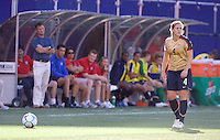 Cat Whitehill lines up a cross in front of head coach Greg Ryan and the USA bench. USA defeated Brazil 2-0 at Giants Stadium on Sunday, June 23, 2007.