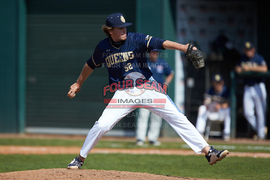 Queens Royals relief pitcher Drew Meschede (52) in action during game two of a double-header against the Catawba Indians at Tuckaseegee Dream Fields on March 26, 2021 in Kannapolis, North Carolina. (Brian Westerholt/Four Seam Images)