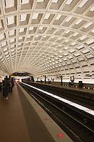 Washington Metropolitan Area Transit Authority (WMATA) Smithsonian station interior and tracks.