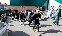 Photo: Richard Lane/Richard Lane Photography. Tigers v Wasps. Aviva Premiership. 25/03/2018. Wasps players arrive at Welford Road.