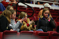 10 January 2008: Fans participate in a marketing text message contest during Stanford's 81-45 win against the Oregon State Beavers at Maples Pavilion in Stanford, CA.