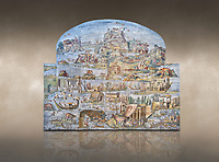 Pictures of the famous Nilotic landscape Palestrina Mosaic or Nile mosaic of Palestrina of the Museo Archeologico Nazionale di Palestrina Prenestino  (Palestrina Archaeological Museum), Palestrina, Italy. Measuring 5.85 m wide by 4.31 m high ( 19 ft wide x 14 ft high). 1st or 2nd century BC. Against an art background.<br /> The Nile mosaic of Palestrina can be attributed to Alexandrian artists who were certainly present in Italy during the 2nd century BC. The mosaic depicts the Nile in flood and artificially compresses the length of the river into a series of zig zags. The top part of the mosaic represents Ethiopia and Nubia at the source of the Nile. The river flows down steep slopes between black hunters and African animals. The Nile flows to the bottom right hand corner of the mosaic where the harbour of Alexandria is depicted and right in the bottom right corner is the Island of the Pharos opposite which is a banqueting scene, possibly at Canopus. <br /> <br /> In the centre of the mosaic is a large Egyptian temple possibly the great sanctuary of Memphis or Karnak. The Mosaic though is dotted with Greek temples of the Greek ruling Ptolemy family who displaced the Pharos.