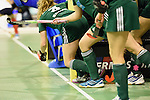 Berlin, Germany, February 01: Players of HTC Uhlenhorst Muehlheim line up on the goal line before a penalty corner during the 1. Bundesliga Damen Hallensaison 2014/15 final hockey match between Duesseldorfer HC (white) and HTC Uhlenhorst Muehlheim (green) on February 1, 2015 at the Final Four tournament at Max-Schmeling-Halle in Berlin, Germany. Final score 4-1 (1-0). (Photo by Dirk Markgraf / www.265-images.com) *** Local caption ***