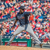 9 July 2017: Atlanta Braves pitcher Jose Ramirez on the mound in relief against the Washington Nationals at Nationals Park in Washington, DC. The Nationals defeated the Braves to split their 4-game series. Mandatory Credit: Ed Wolfstein Photo *** RAW (NEF) Image File Available ***