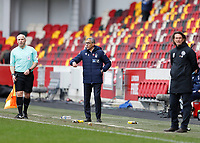 20th March 2021; Brentford Community Stadium, London, England; English Football League Championship Football, Brentford FC versus Nottingham Forest; Nottingham Forest manager Chris Hughton looks on from the touchline