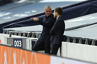 Tottenham Hotspur manager Jose Mourinho with press officer Simon Felstein during Tottenham Hotspur vs Everton, Premier League Football at Tottenham Hotspur Stadium on 6th July 2020