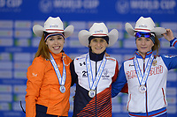 SPEEDSKATING: Calgary, The Olympic Oval, 07-02-2020, ISU World Cup Speed Skating, Podium 3000m Ladies Division A, Antoinette de Jong (NED), Martina Sáblíková (CZE), Natalia Voronina (RUS),  ©foto Martin de Jong