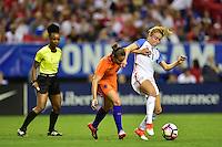 Atlanta, GA - Sunday Sept. 18, 2016: Sherida Spitse, Emily Sonnett during a international friendly match between United States (USA) and Netherlands (NED) at Georgia Dome.