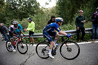 Remco Evenepoel (BEL/Deceuninck-Quick Step) cracking up the Passo di Ganda<br /> <br /> 115th Il Lombardia 2021 (1.UWT)<br /> One day race from Como to Bergamo (ITA/239km)<br /> <br /> ©kramon