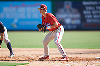 Philadelphia Phillies Madison Stokes (15) during a Florida Instructional League game against the New York Yankees on October 12, 2018 at Spectrum Field in Clearwater, Florida.  (Mike Janes/Four Seam Images)